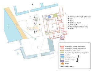 © B. Grall. Centre départemental d'archéologie du Finistère (CD29). - Plan d'ensemble de l'Abbaye du Relec.