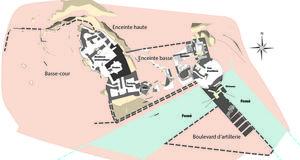 © B. Grall, Centre départemental d'archéologie du Finistère (CD29). - Plan général du Château Roc'h-Morvan à La Roche Maurice.