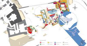 © B. Grall, Centre départemental d'archéologie du Finistère (CD29). - Plan des différentes phases de construction de l'enceinte basse, Château Roc'h-Morvan à La Roche Maurice.