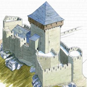 © L. Duigou, Maison du Patrimoine de La Roche Maurice - Restitution de l'enceinte haute du Château Roc'h Morvan à La Roche Maurice.