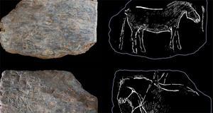 © Cliché N. Naudinot, Croquis de lecture C. Bourdier (Naudinot et al., 2017). - Plaquette gravée du Rocher de l'Impératrice avec un premier cheval sur l'une des faces et trois autres chevaux (dont un petit) sur l'autre.
