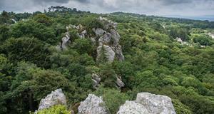 © Cyril FRÉSILLON / CEPAM / CNRS Photothèque - Vue Est-Ouest du sommet de la barre de roche avec le goulet de Brest en fond.